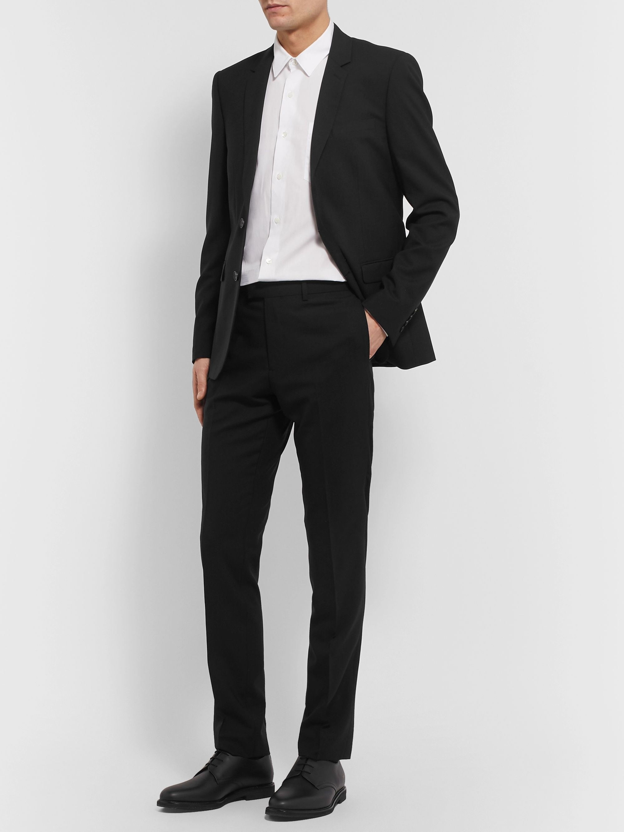Sandro Black Slim-Fit Wool-Blend Suit Trousers