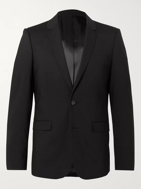 Sandro Black Slim-Fit Wool-Blend Suit Jacket