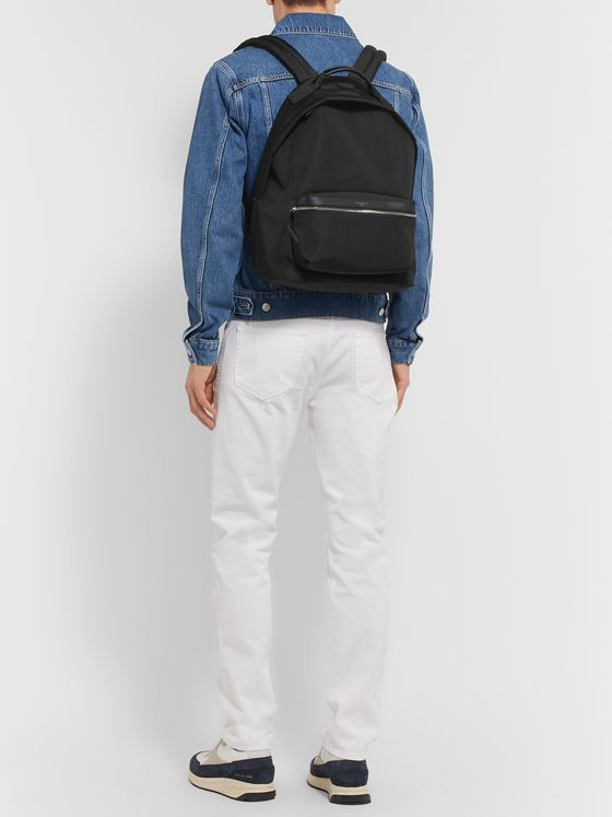 Sandro Leather-Trimmed Canvas Backpack