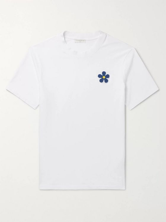 Sandro Slim-Fit Appliquéd Cotton-Jersey T-Shirt