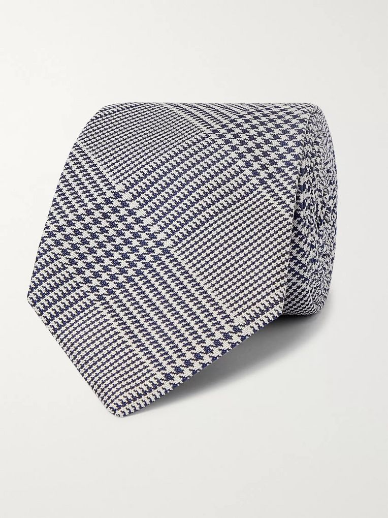 Kingsman + Drake's 8cm Prince of Wales Checked Silk Tie