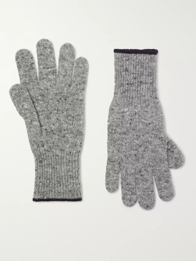 Brunello Cucinelli Contrast-Tipped Mélange Virgin Wool-Blend Gloves