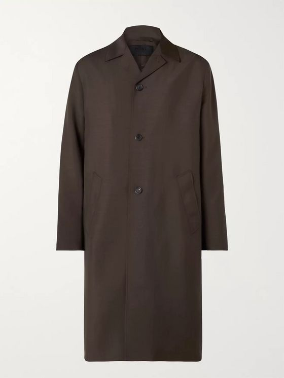 Prada Logo-Appliquéd Mohair and Wool-Blend Coat