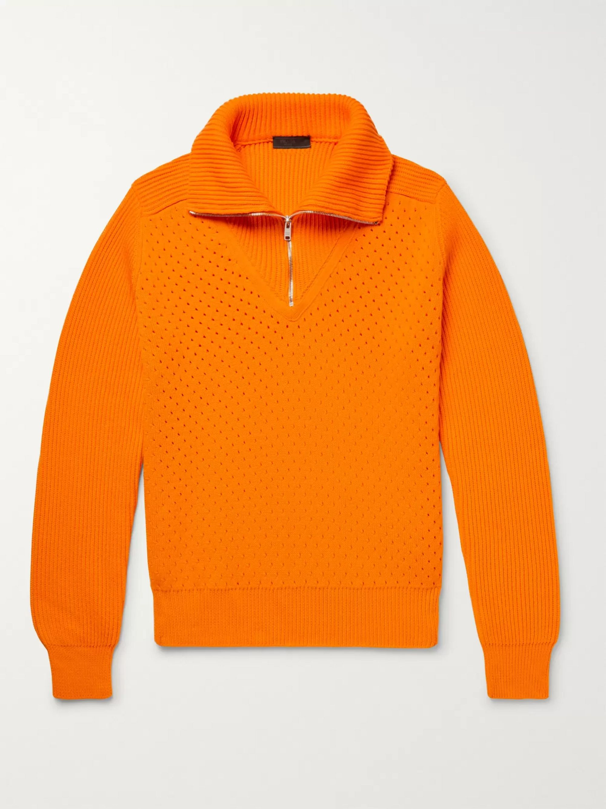 Prada Perforated and Ribbed Cotton Half-Zip Sweater