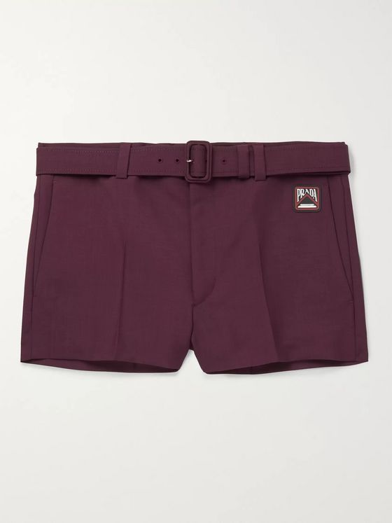 Prada Slim-Fit Logo-Appliquéd Mohair and Wool-Blend Shorts