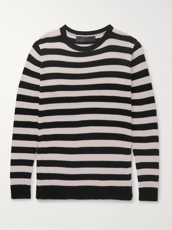 The Elder Statesman Striped Silk Sweater