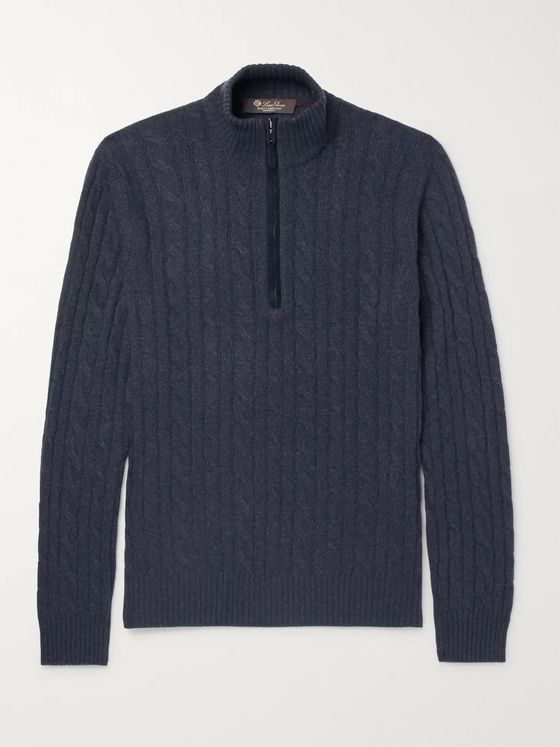 Loro Piana Cable-Knit Baby Cashmere Half-Zip Sweater