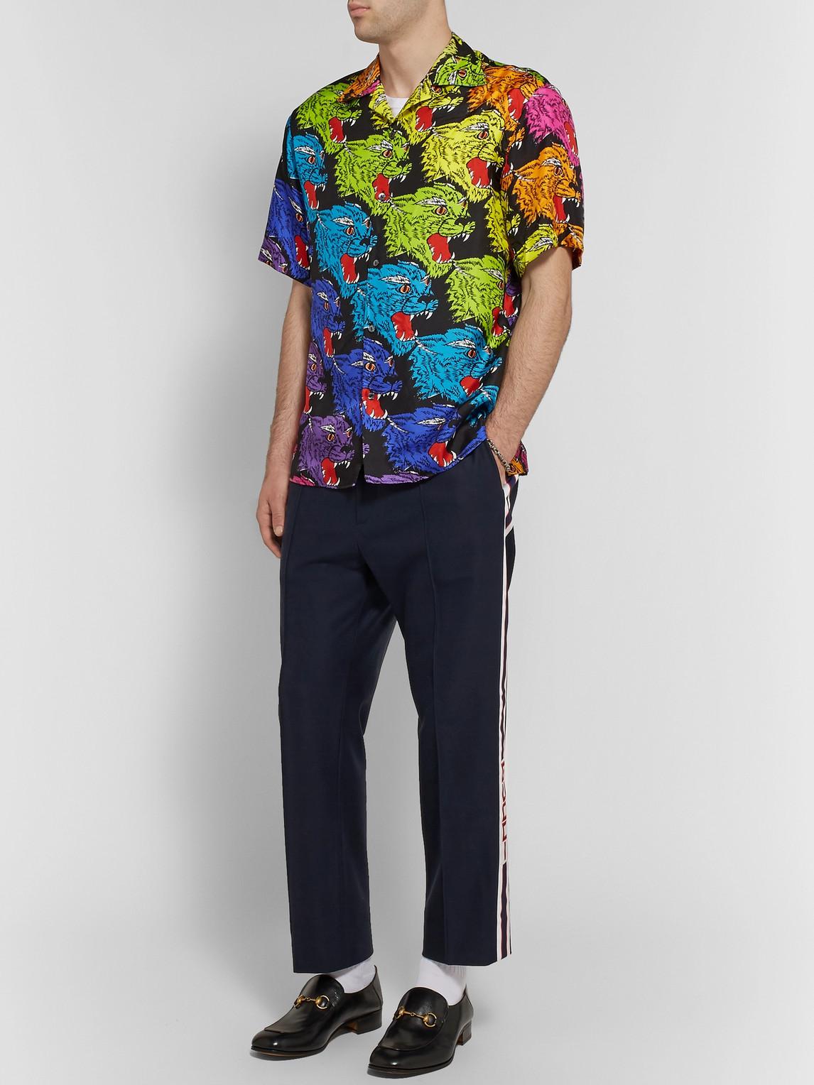 Gucci Pants SLIM-FIT CROPPED WEBBING-TRIMMED COTTON-PIQUÉ DRAWSTRING TROUSERS