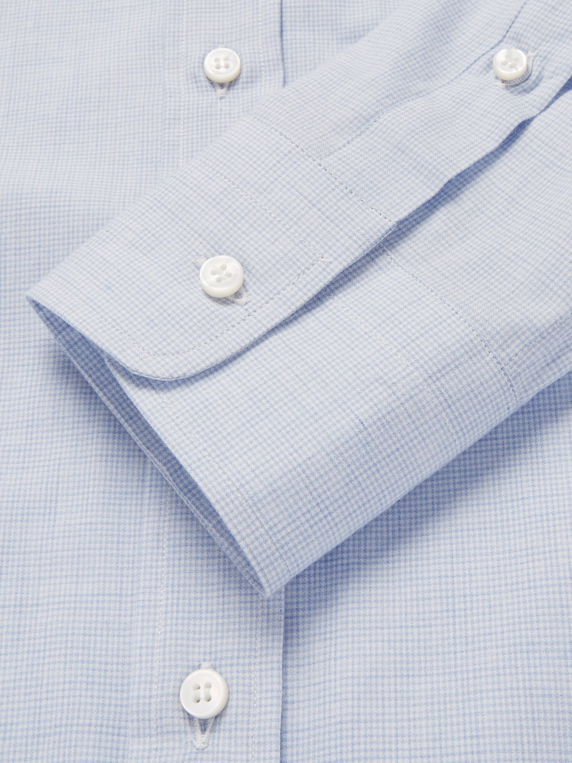 Loro Piana Button-Down Collar Puppytooth Brushed-Cotton Shirt