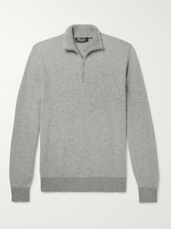 Loro Piana Roadster Striped Cashmere Half-Zip Sweater