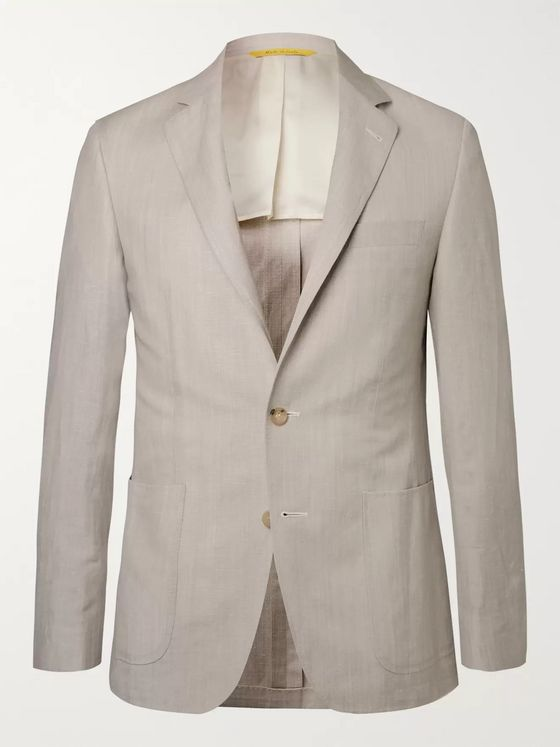 Canali Stone Kei Slim-Fit Wool and Linen-Blend Suit Jacket