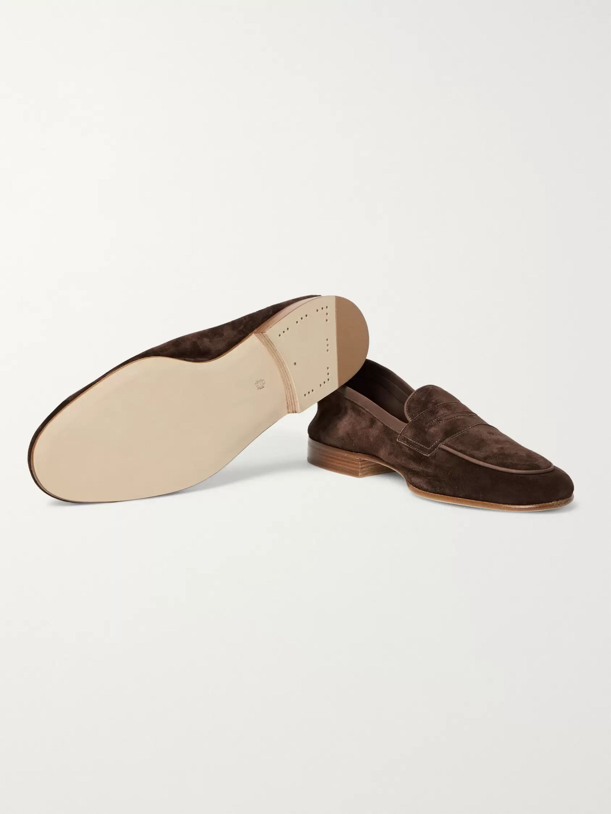 Edward Green Polperro Nubuck-Trimmed Suede Penny Loafers