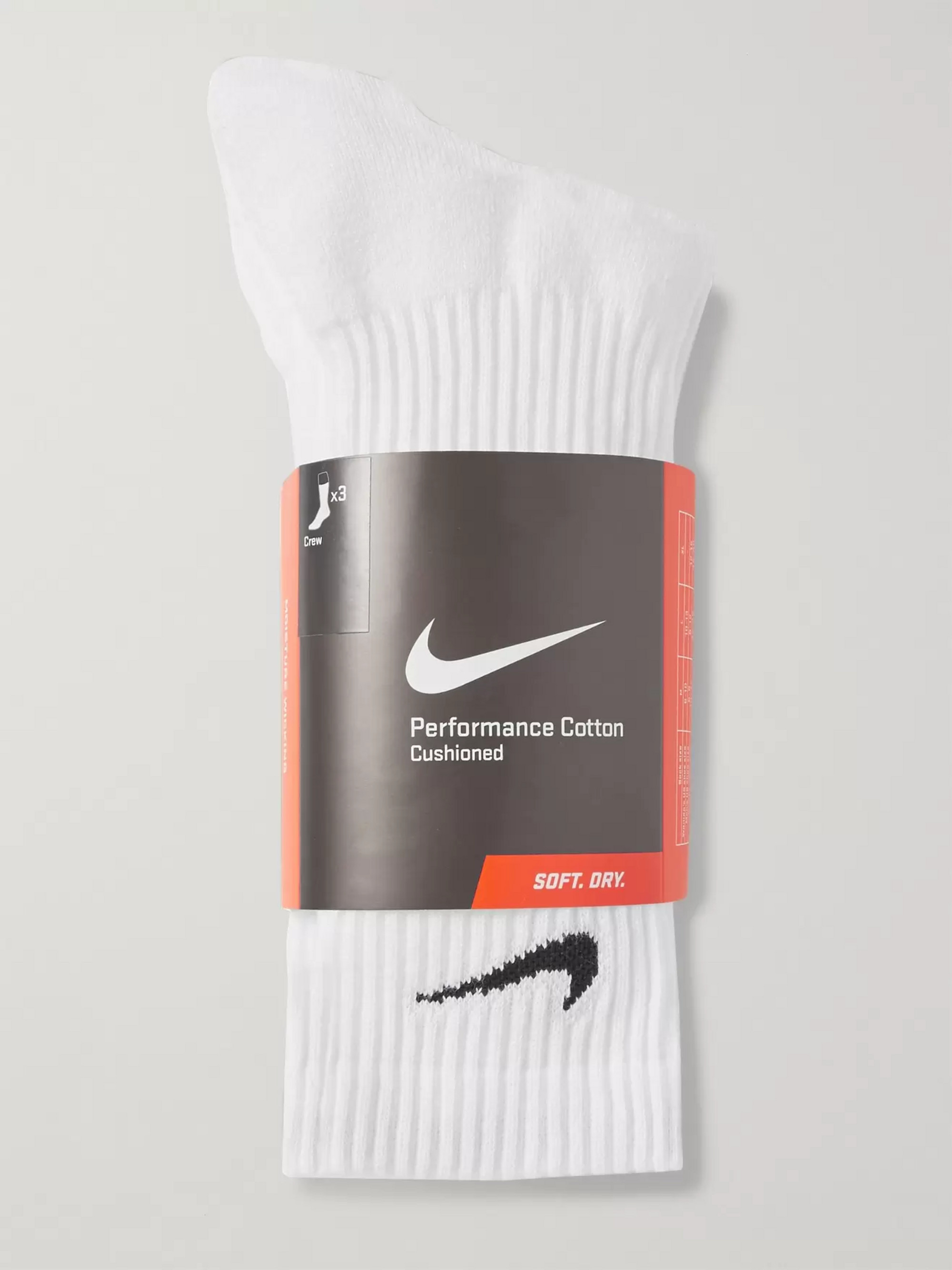 Nike Three-Pack Cushioned Cotton-Blend Socks