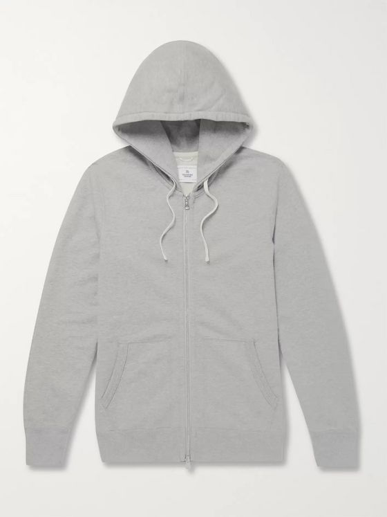 REIGNING CHAMP Slim-Fit Mélange Loopback Cotton-Jersey Zip-Up Hoodie