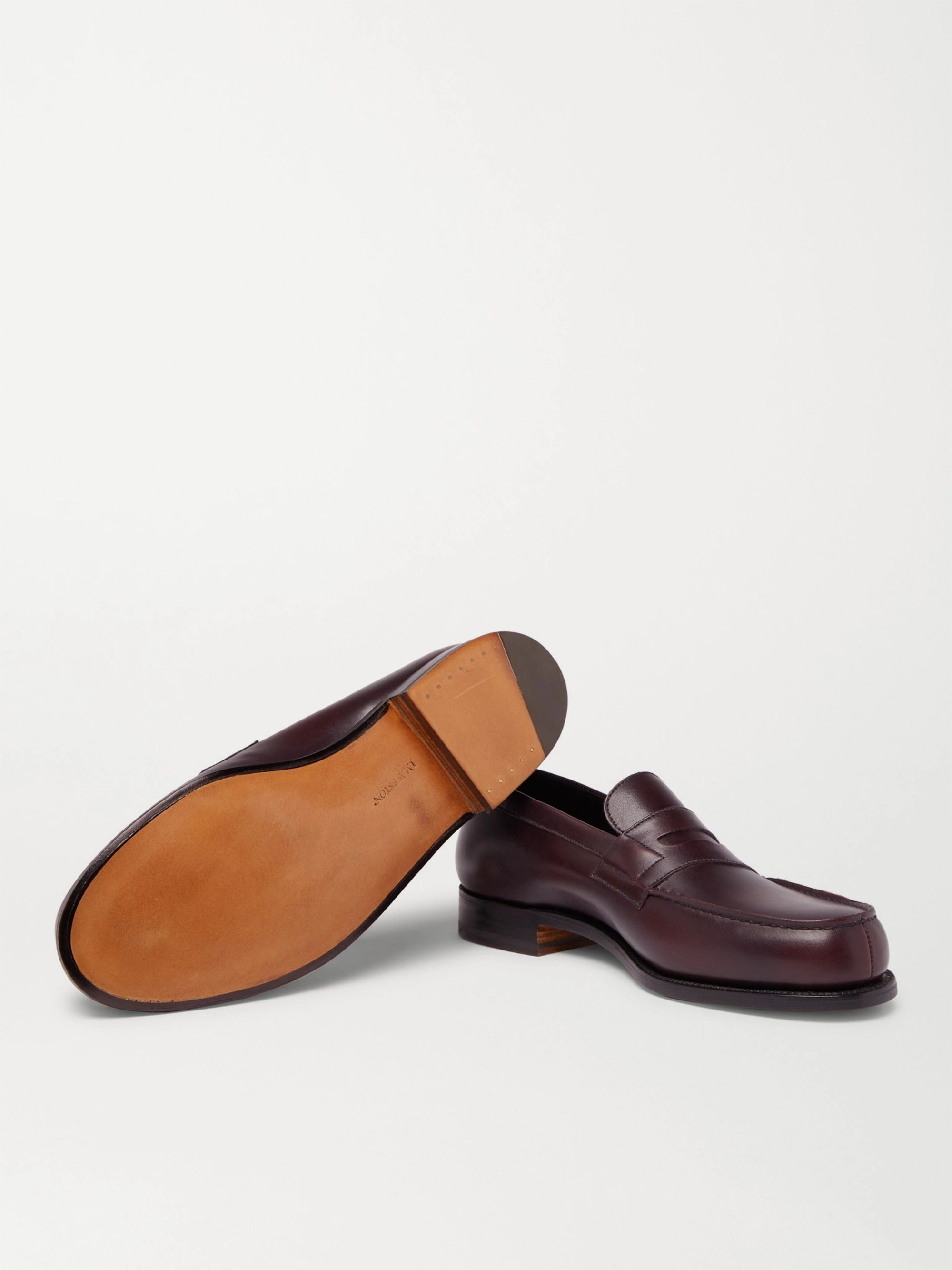J.M. Weston 180 The Moccasin Burnished-Leather Penny Loafers