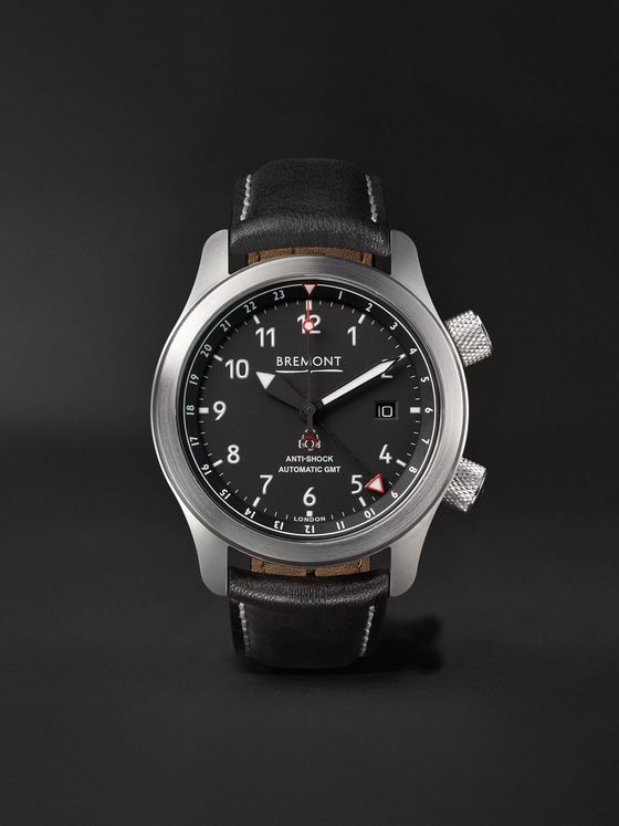 Bremont MBIII Black Bronze Automatic GMT 43mm Stainless Steel and Leather Watch, Ref. MBIII-BK-BZ-R-S