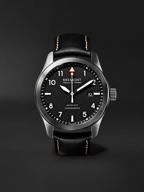 Bremont SOLO Black Automatic 43mm Stainless Steel and Leather Watch, Ref. SOLO43-WH-R-S