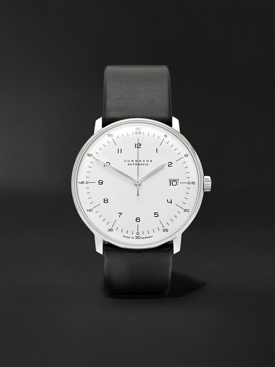 JUNGHANS Max Bill Automatic 40mm Stainless Steel and Leather Watch, Ref. No. 27470000