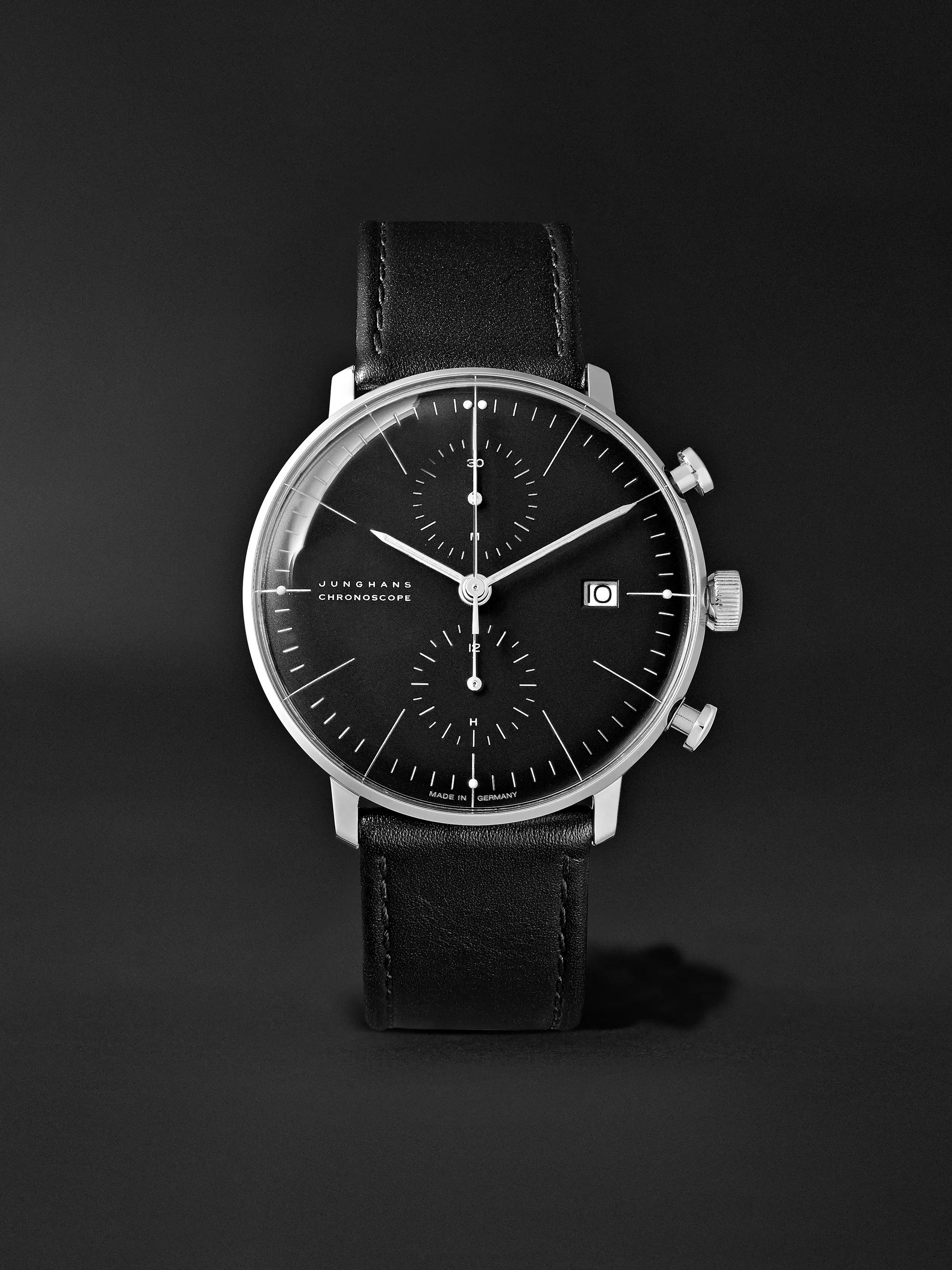 JUNGHANS Max Bill Automatic Chronoscope 40mm Stainless Steel and Leather Watch, Ref. No. 027/4600.04