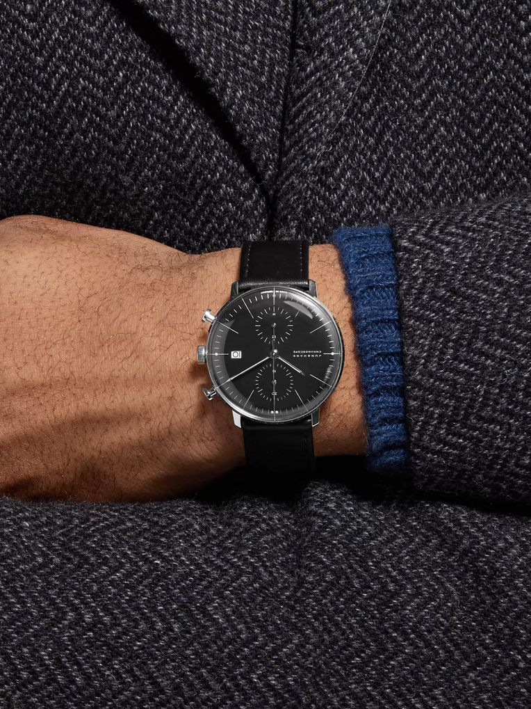 Junghans Max Bill Chronoscope 40mm Stainless Steel and Leather Watch, Ref. No. 027/4601.00
