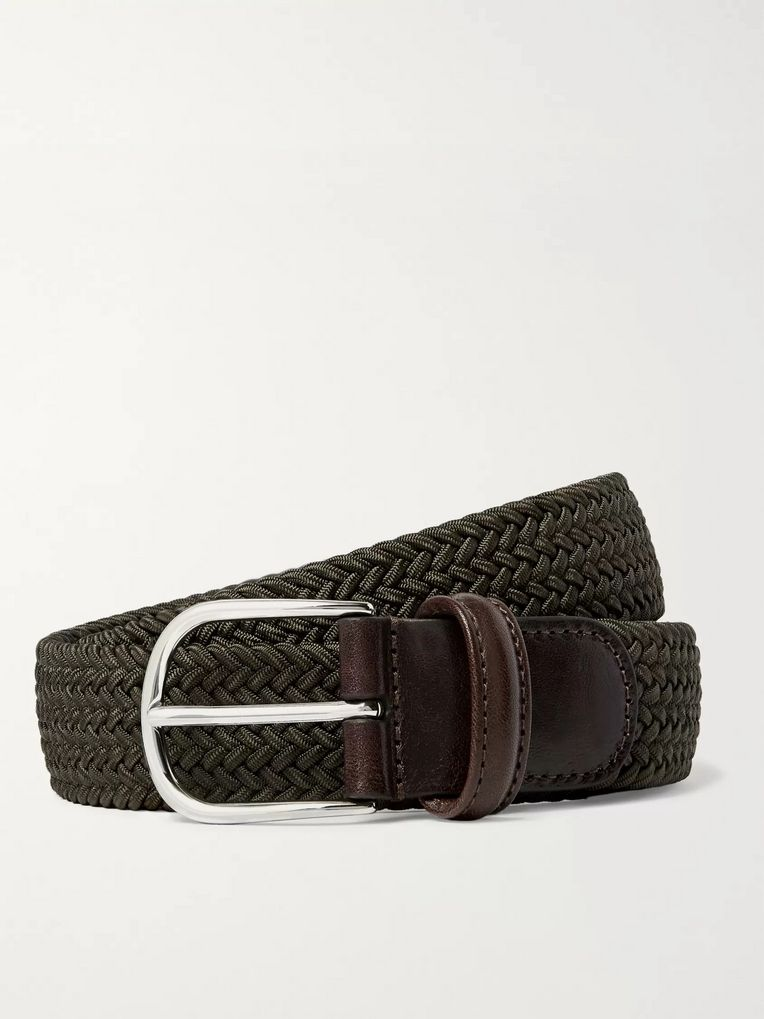 Anderson's 3.5cm Midnight-Blue Woven Waxed-Cord Belt