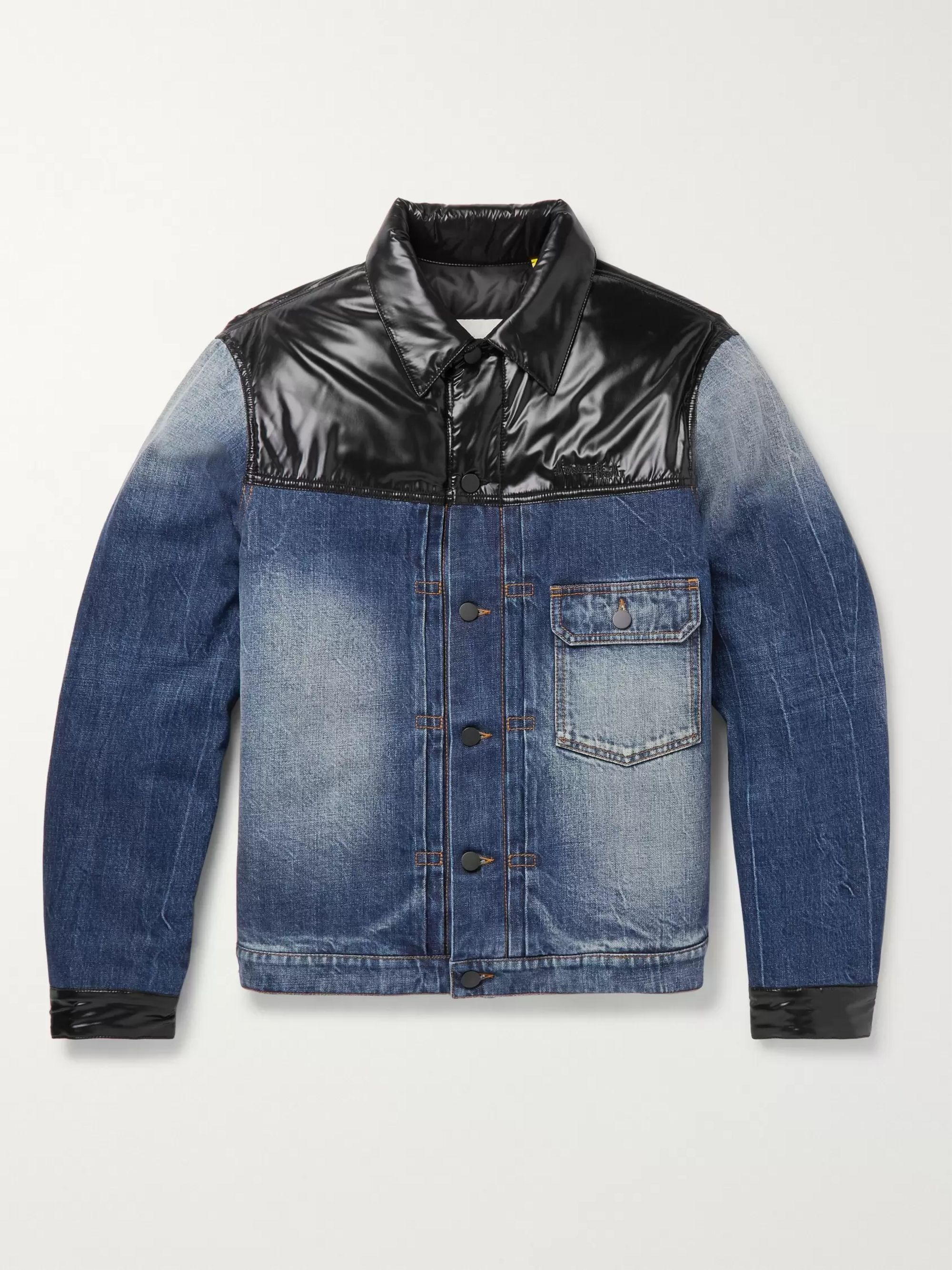 Moncler Genius 7 Moncler Fragment Shady Padded Shell-Panelled Denim Down Jacket