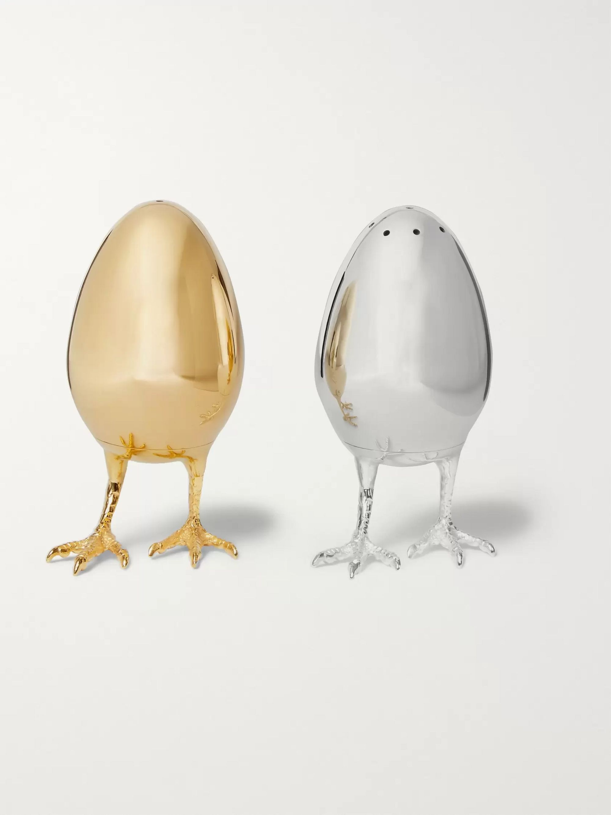 Asprey Sterling Silver and Gold-Gilded Salt and Pepper Shakers