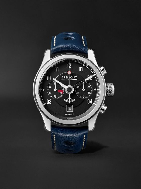 Bremont MKII Jaguar Automatic Chronograph 43mm Stainless Steel and Leather Watch, Ref. No. J-MKII-BK-R-S