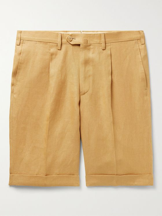 DE PETRILLO Slim-Fit Pleated Linen Bermuda Shorts