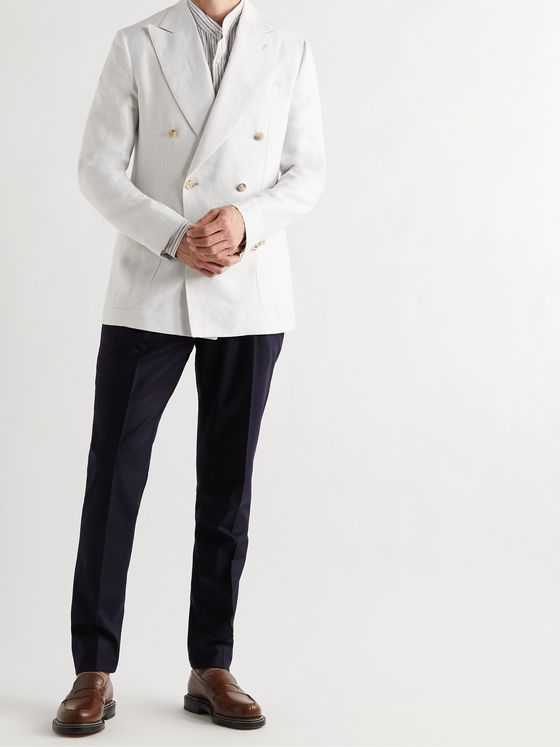 DE PETRILLO Sorrento Unstructured Double-Breasted Linen Blazer