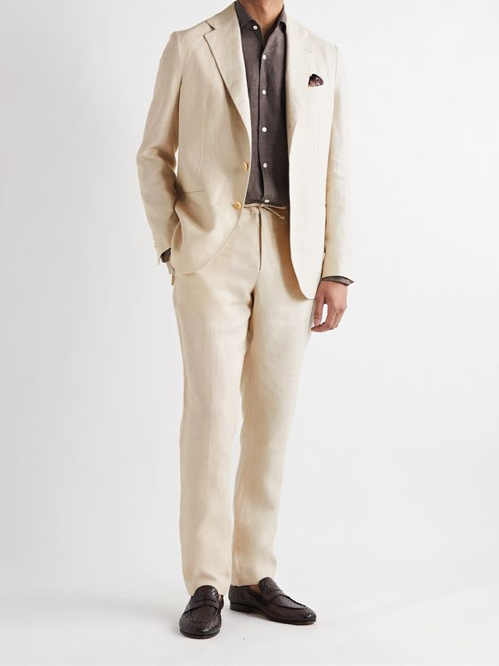 DE PETRILLO Slim-Fit Linen Drawstring Suit Trousers