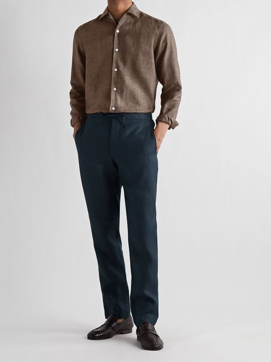 DE PETRILLO Slim-Fit Linen Drawstring Trousers