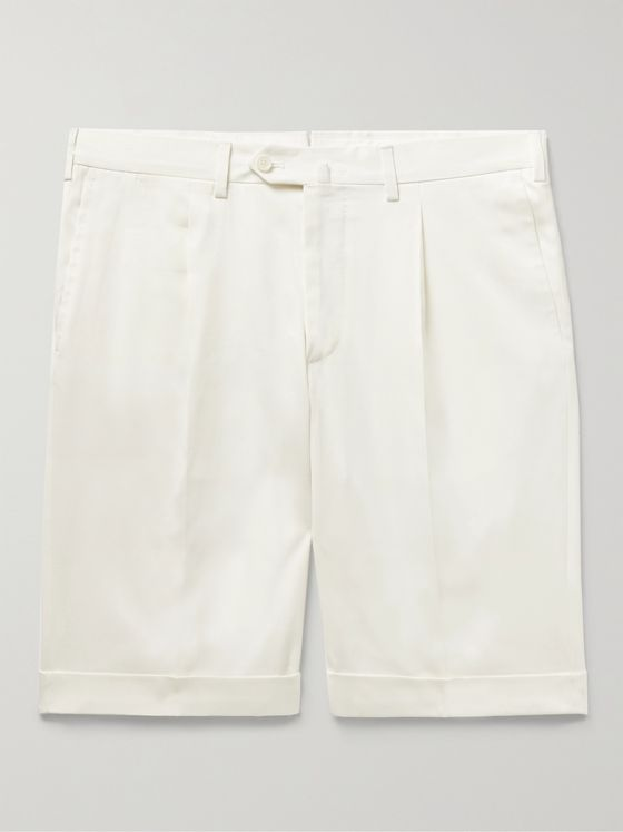 DE PETRILLO Slim-Fit Pleated Cotton-Blend Twill Bermuda Shorts