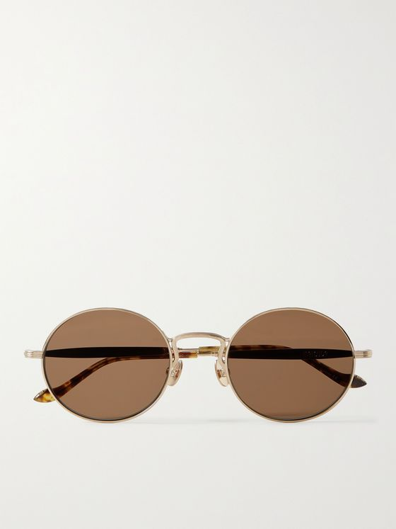 MATSUDA Round-Frame Titanium Sunglasses with Side Shield and Leather Strap