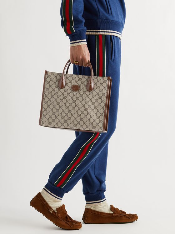 GUCCI Ophidia Leather-Trimmed Monogrammed Coated-Canvas Tote Bag