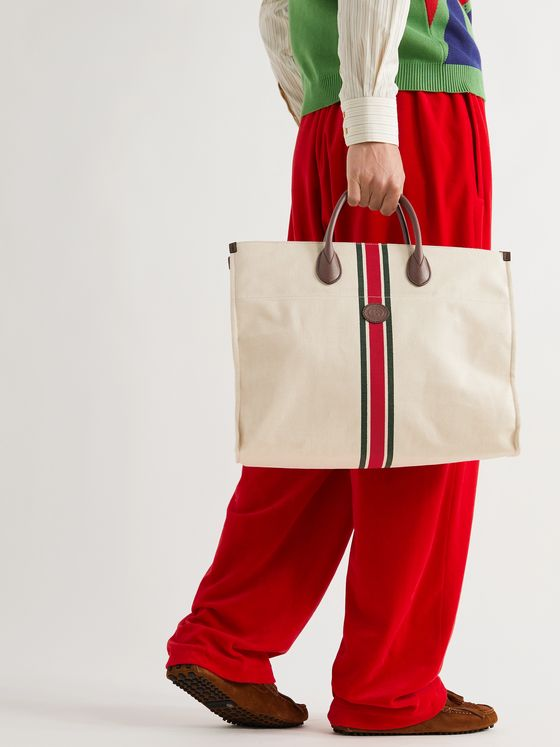 GUCCI Leather-Trimmed Striped Canvas Tote Bag