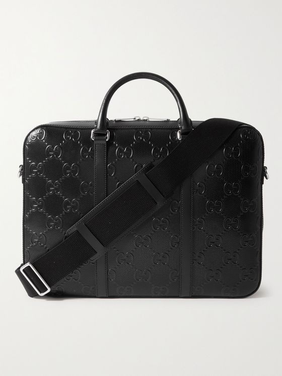 GUCCI Logo-Embossed Perforated Leather Briefcase