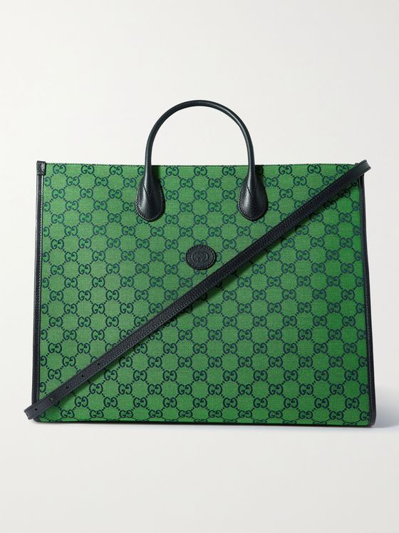 GUCCI Leather-Trimmed Monogrammed Coated-Canvas Tote Bag