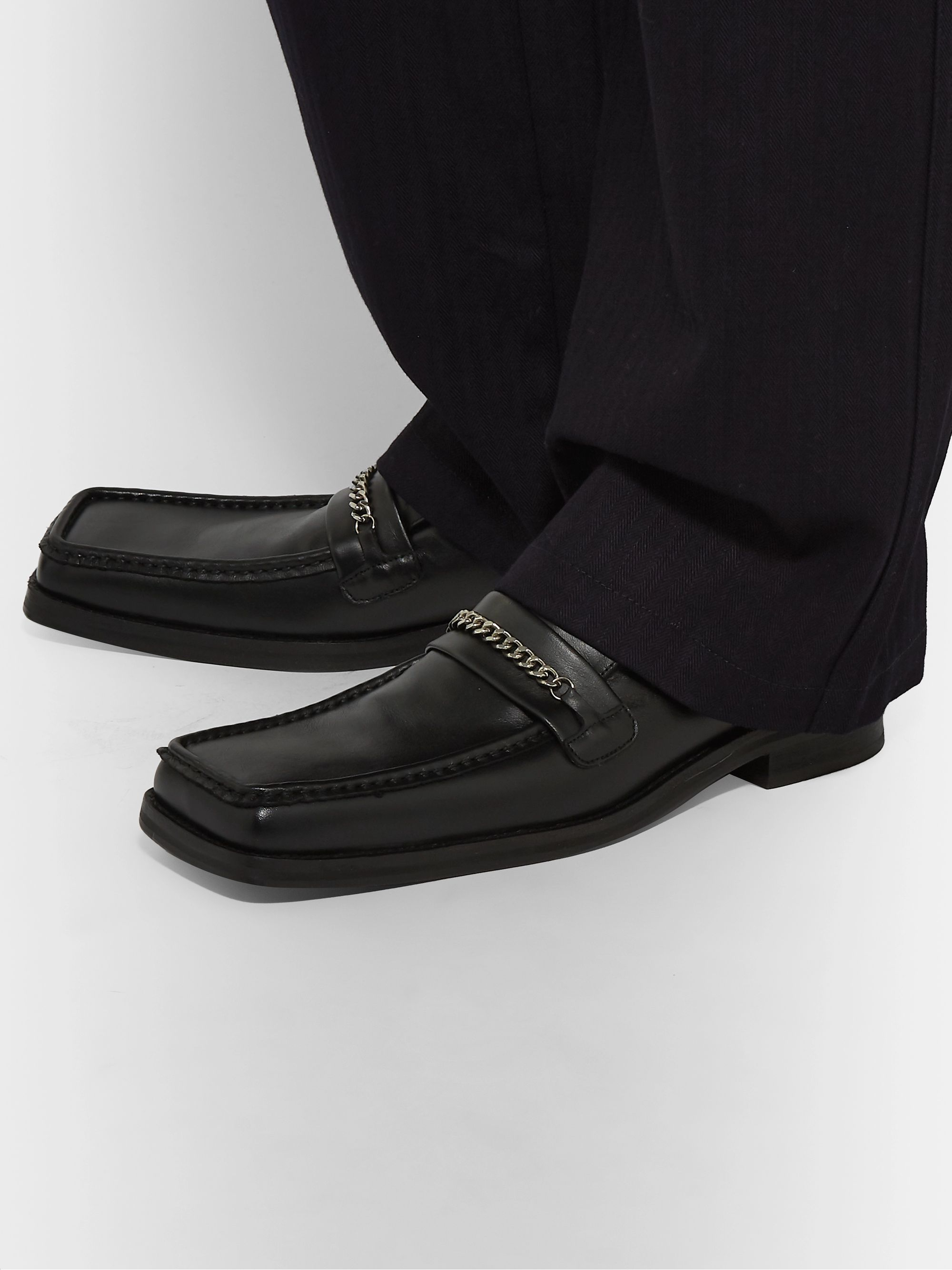 Martine Rose Chain-Trimmed Leather Loafers