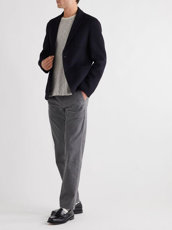 MR P. Navy Unstructured Double-Faced Splitable Virgin Wool and Cashmere-Blend Blazer