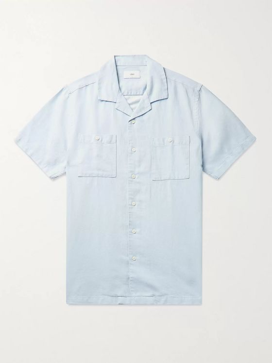 Onia Camp-Collar Cotton-Blend Chambray Shirt
