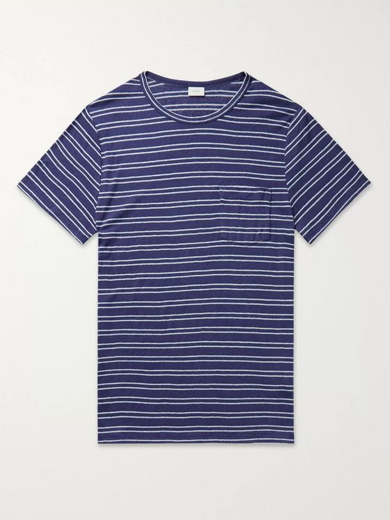 Onia Chad Striped Linen-Blend Jersey T-Shirt