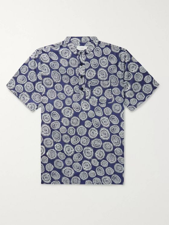 Onia Anthony Grandad-Collar Printed Cotton Shirt