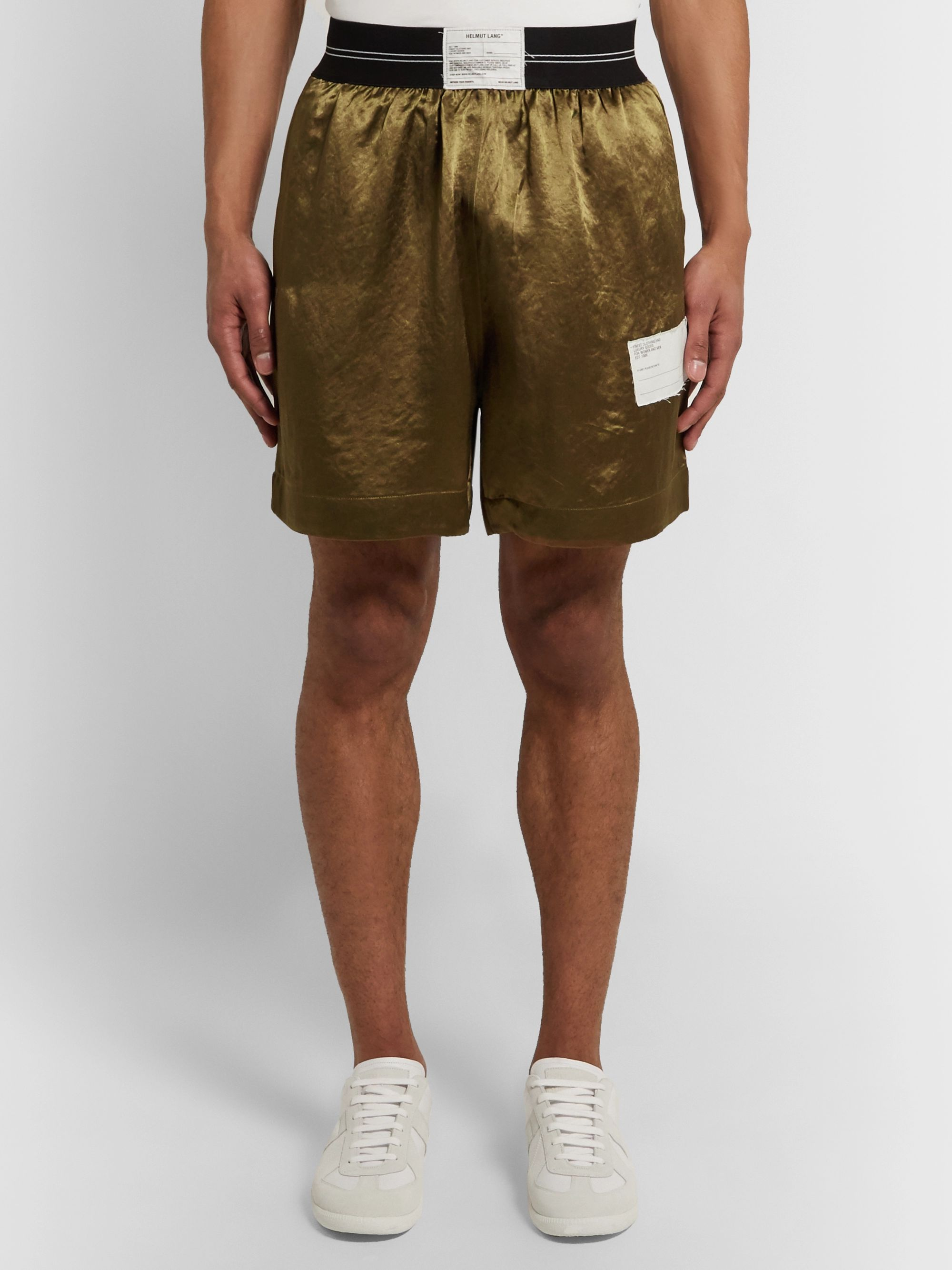 Helmut Lang Wide-Leg Logo-Appliquéd Satin Shorts