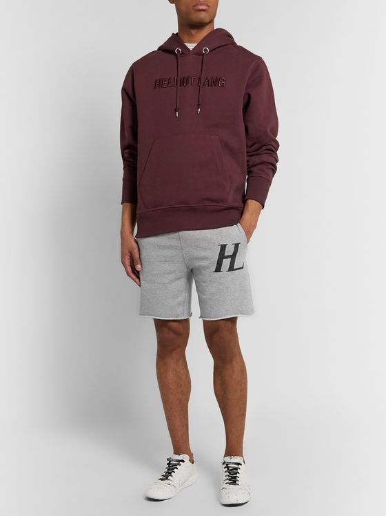 Helmut Lang Slim-Fit Logo-Print Mélange Loopback Cotton-Jersey Drawstring Shorts