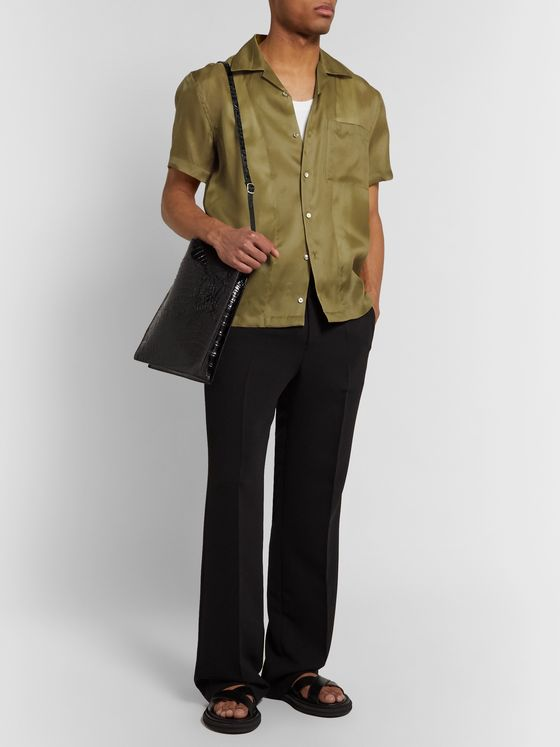 Helmut Lang Camp-Collar Silk-Satin Shirt