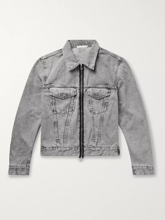 Helmut Lang Cropped Stonewashed Denim Trucker Jacket