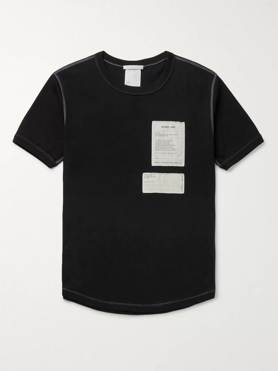 Helmut Lang Slim-Fit Appliquéd Cotton-Jersey T-Shirt