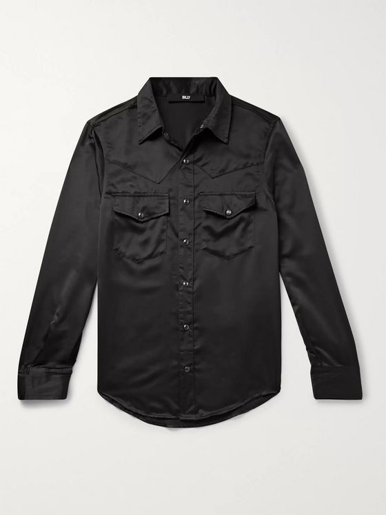 BILLY Slim-Fit Satin Western Shirt