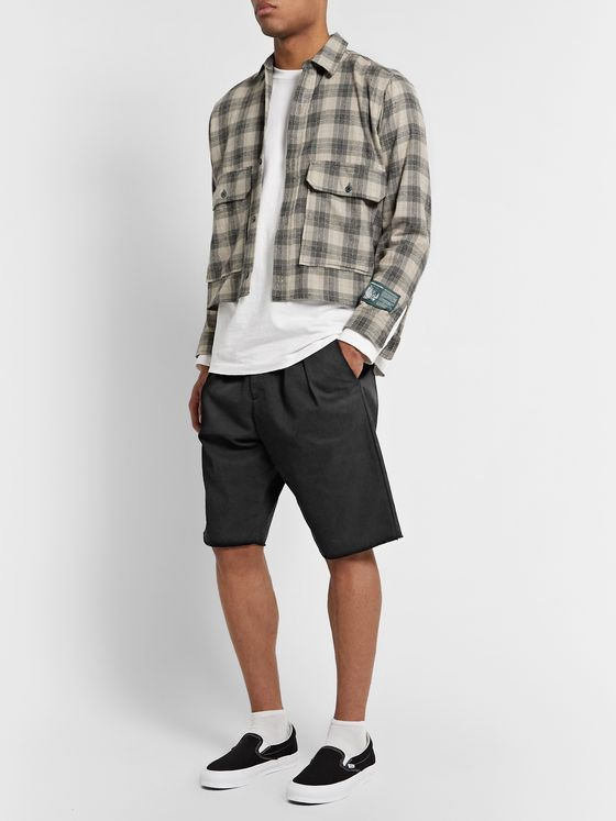 BILLY Pleated Cotton-Twill Shorts